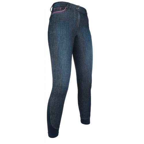 HKM PRO TEAM Kinder Reithose ACTIVE 19 DENIM Silikon Vollbesatz